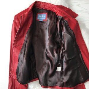 Dona Michi Jackets & Coats - Dona Michi Red Genuine Leather Zippered Jacket
